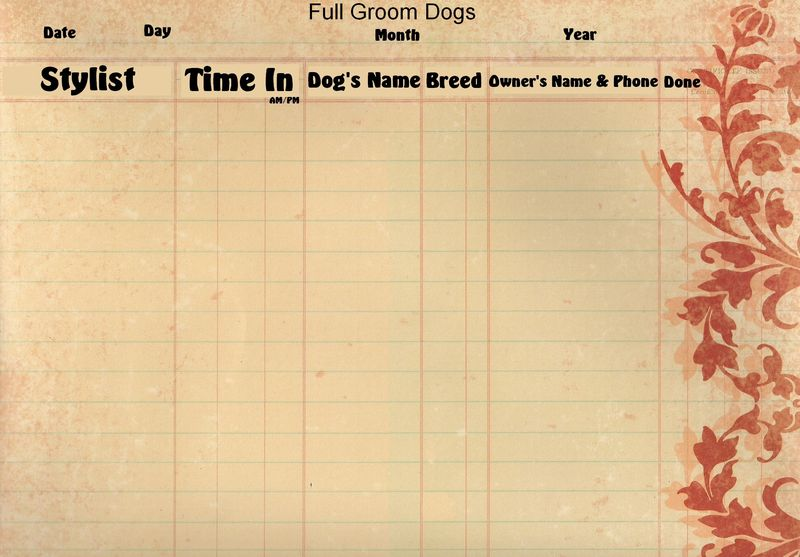 Grooming Salon Appt Pages- full grooms