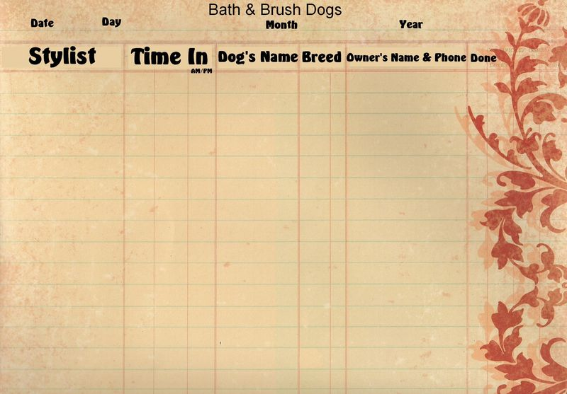 Grooming Salon Appt Pages- bathbrush